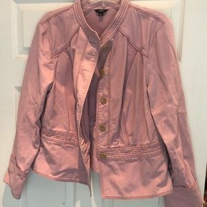 Mossimo Pink Button Up Fitted Peplum Jacket Size16